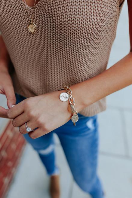 Trevi Fountain Gold Coin Charm Bracelet