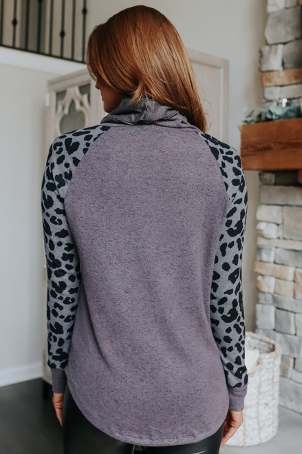 Cowl Neck Leopard Contrast Pullover