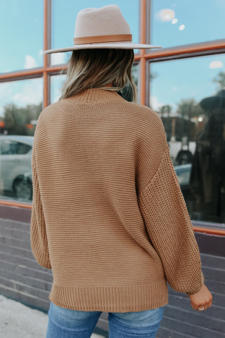 Mock Neck Camel Seam Detail Sweater