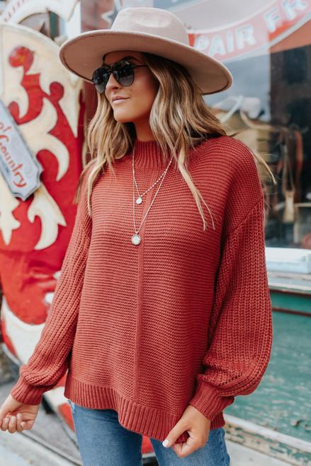 Mock Neck Rust Seam Detail Sweater