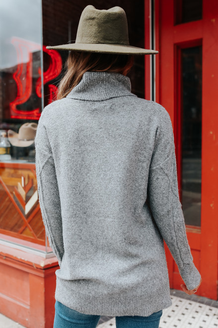 Turtleneck Grey Cable Knit Sweater