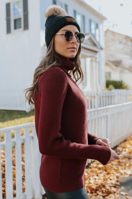 Noelle Turtleneck Wine Ribbed Sweater