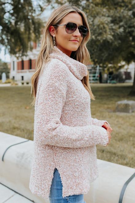 Cowl Neck Blush Two Tone Sweater