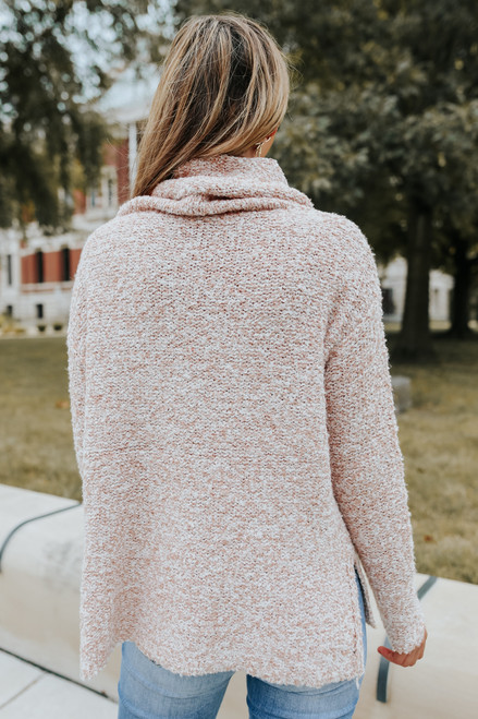 Cowl Neck Blush Two Tone Sweater