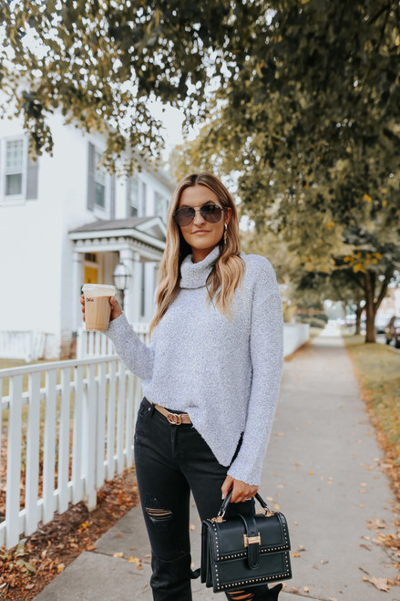 Cowl Neck Grey Two Tone Sweater