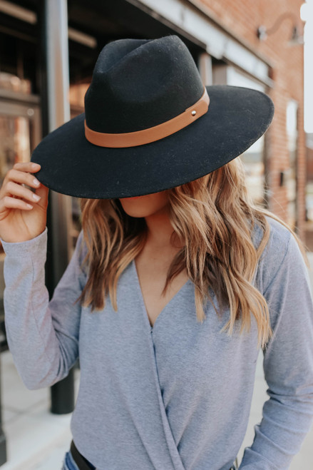 Belted Black Wide Brim Hat