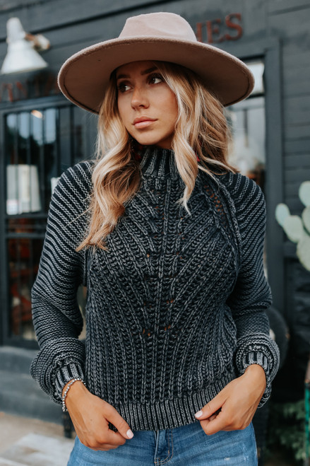 Free People Sweetheart Black Sweater