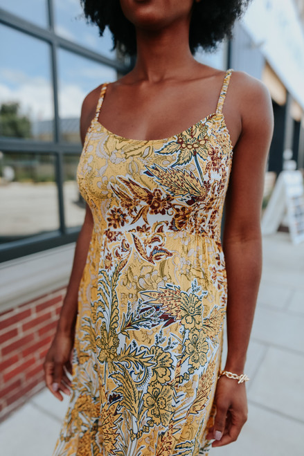 Free People Forever Yours Gold Smocked Slip Dress