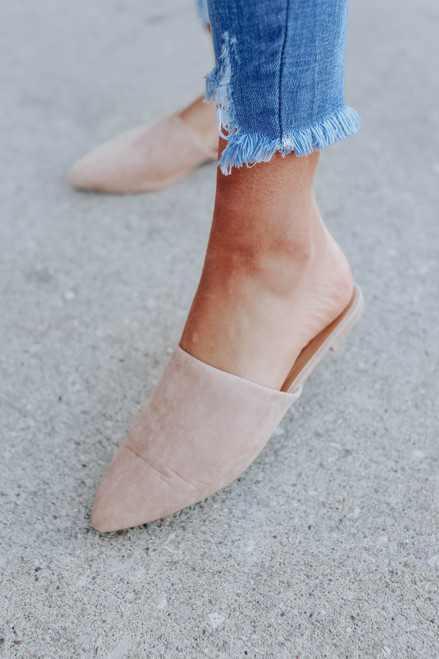 Serendipity Faux Suede Taupe Mules