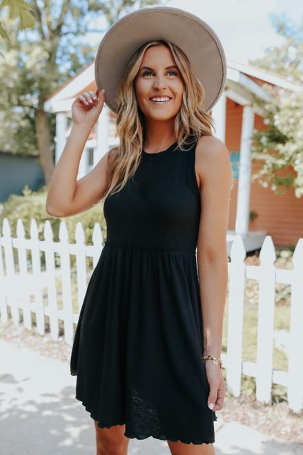 Ruffle Waist Black Ribbed Dress