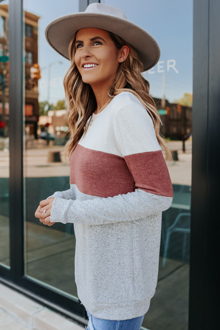Soft Brushed Rust Colorblock Pullover