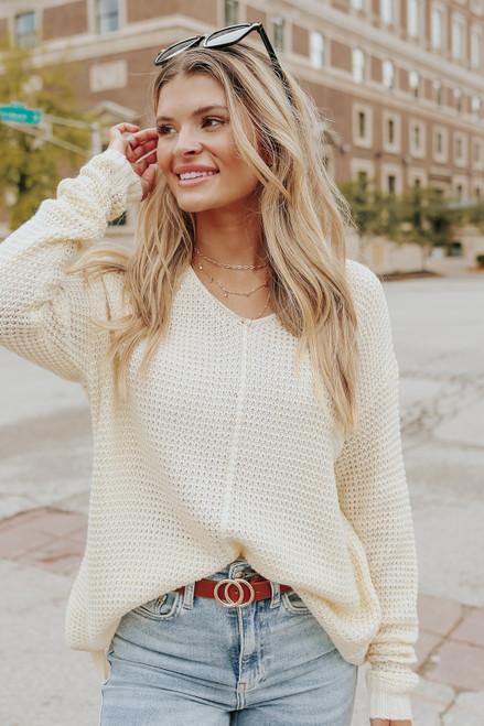 V-Neck Seam Detail Cream Waffle Sweater