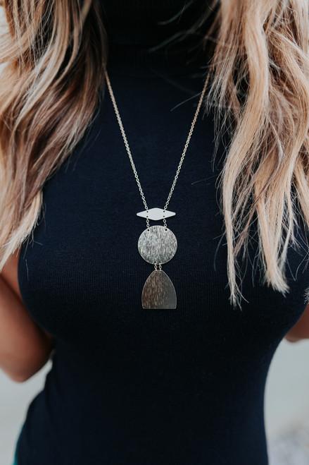 Geometric Gold Metal Pendant Necklace