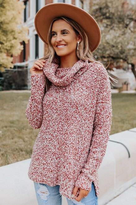 Cowl Neck Rust Two Tone Sweater
