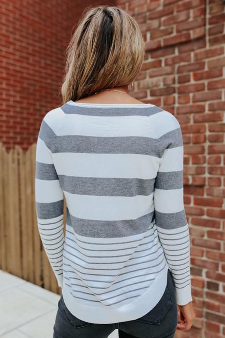 Boatneck Striped Curved Hem Sweater