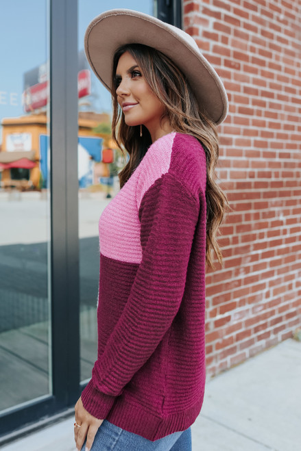 Metropolis Plum Colorblock Ribbed Sweater
