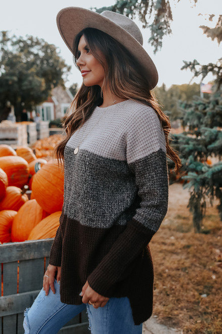 Cabin Fever Colorblock Waffle Sweater