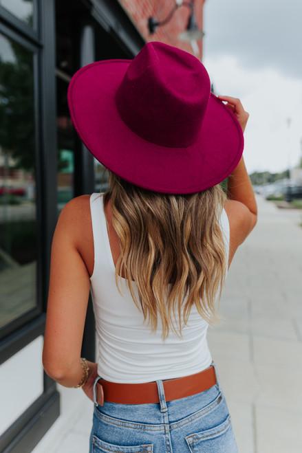Amore Wide Brim Burgundy Hat
