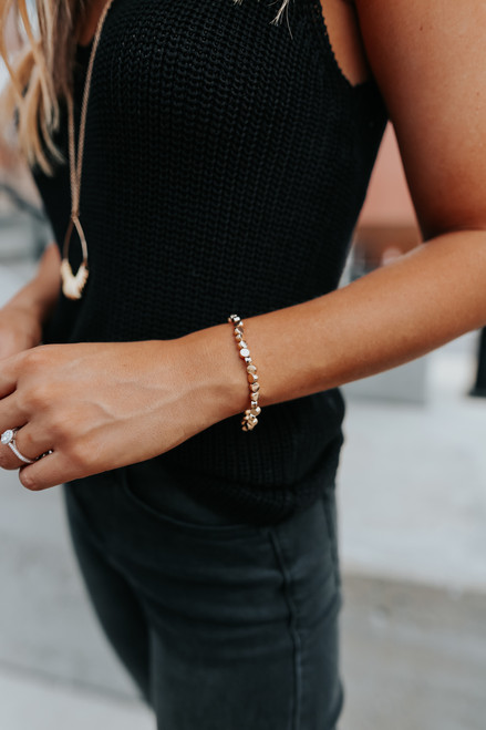 Pearl Accent Gold Circle Bracelet