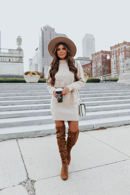 Mock Neck Cable Sweater Dress