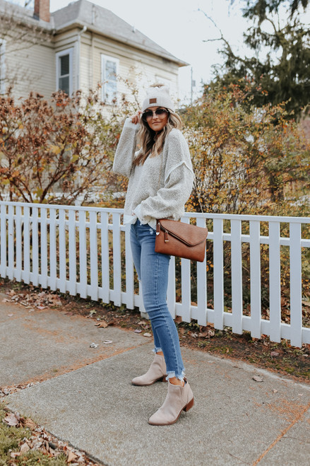 Two Tone Contrast Distressed Sweater