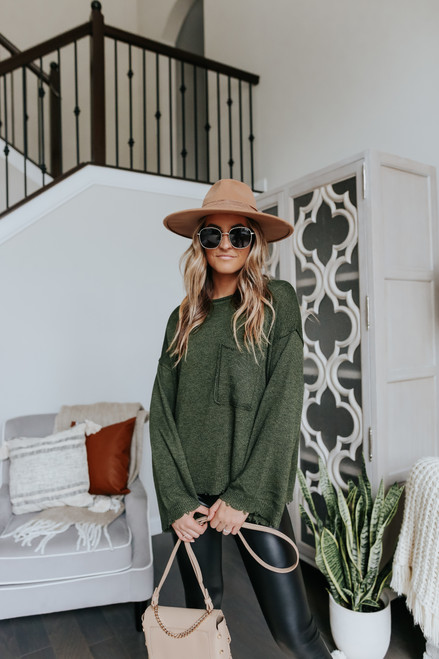 Seam Detail Olive Pocket Sweater