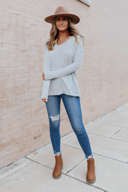 V-Neck Side Slit Grey Brushed Pullover