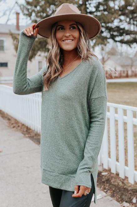 V-Neck Side Slit Olive Brushed Pullover