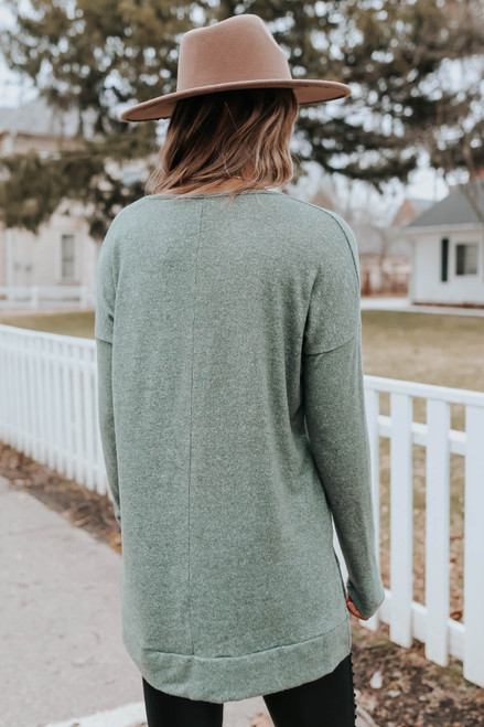 V-Neck Side Slit Olive Brushed Pullover