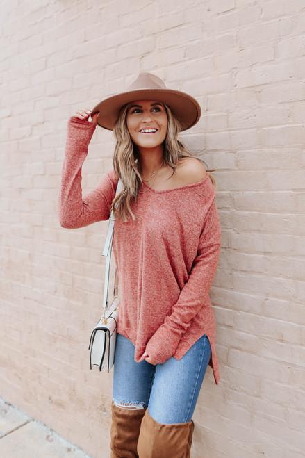 V-Neck Side Slit Rust Brushed Pullover