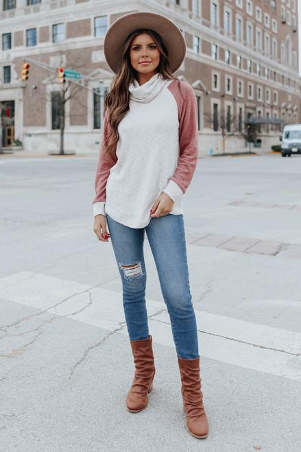 Cowl Neck Contrast Raglan Pullover