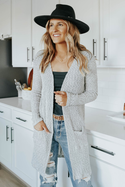 Open Front Two Tone Cardigan