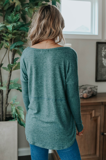 V-Neck Seam Detail Green Brushed Pullover