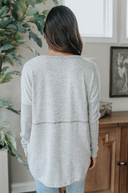 V-Neck Seam Detail Grey Brushed Pullover