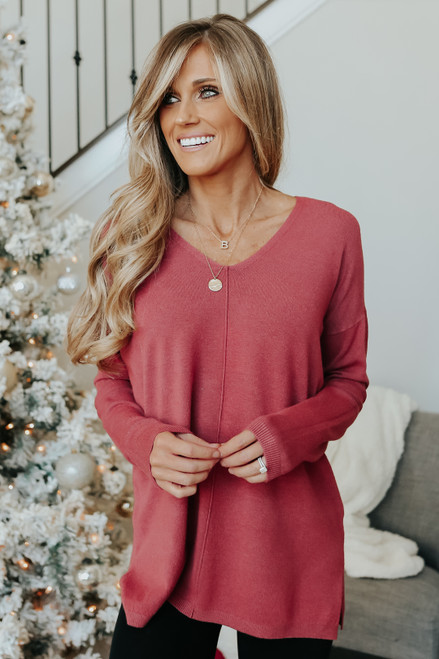 Lightweight V-Neck Terracotta Sweater