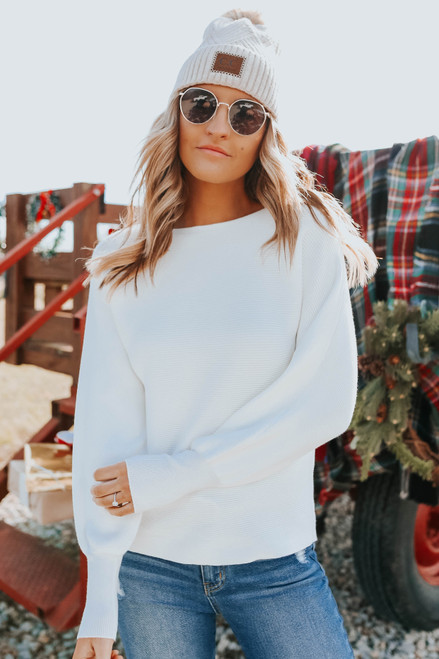 Dolman Boatneck Ivory Ribbed Sweater