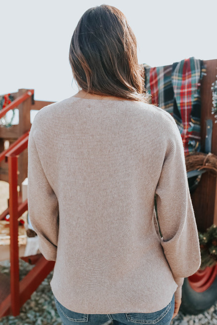 Dolman Boatneck Mocha Ribbed Sweater