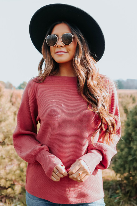 Dolman Boatneck Rust Ribbed Sweater