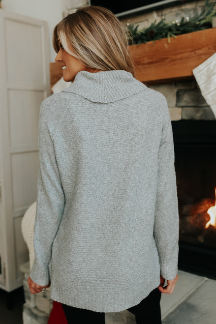 Cowl Neck Seam Detail Grey Ribbed Sweater