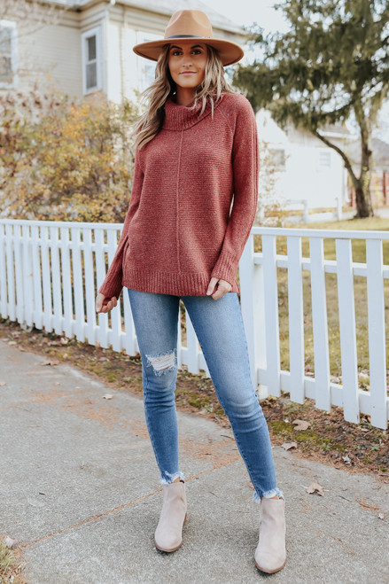 Cowl Neck Seam Detail Rust Ribbed Sweater