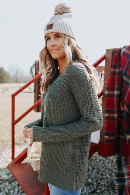 V-Neck Olive Waffle Sweater