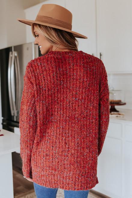 Waverly Open Knit Rust Confetti Sweater