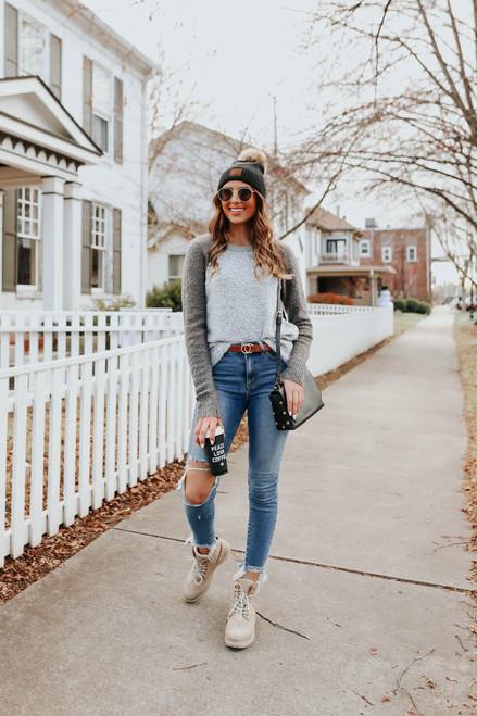 Contrast Colorblock Grey Raglan Sweater