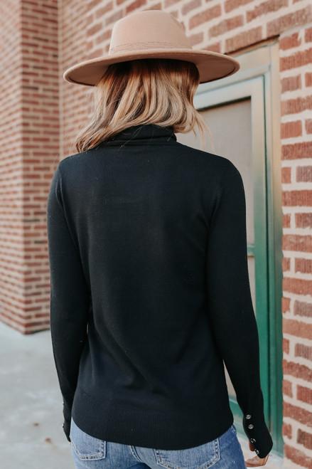 Button Cuff Turtleneck Black Sweater