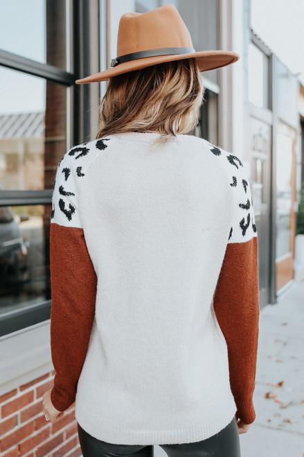 Leopard Colorblock Raglan Sweater