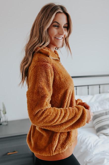 Half Zipper Copper Sherpa Pullover