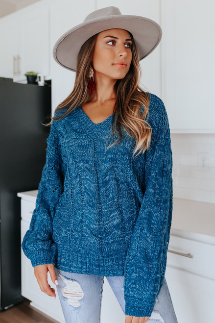 V-Neck Two Tone Blue Cable Sweater