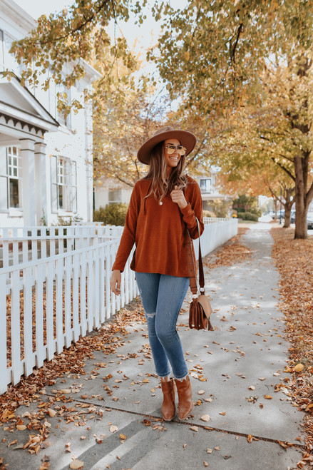 Lace Up Chenille Pullover