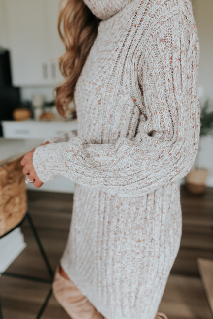 Turtleneck Confetti Cable Sweater Dress