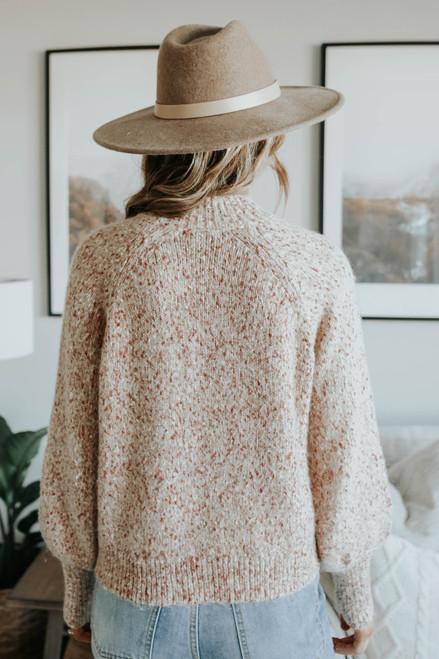 Mock Neck Raglan Confetti Sweater
